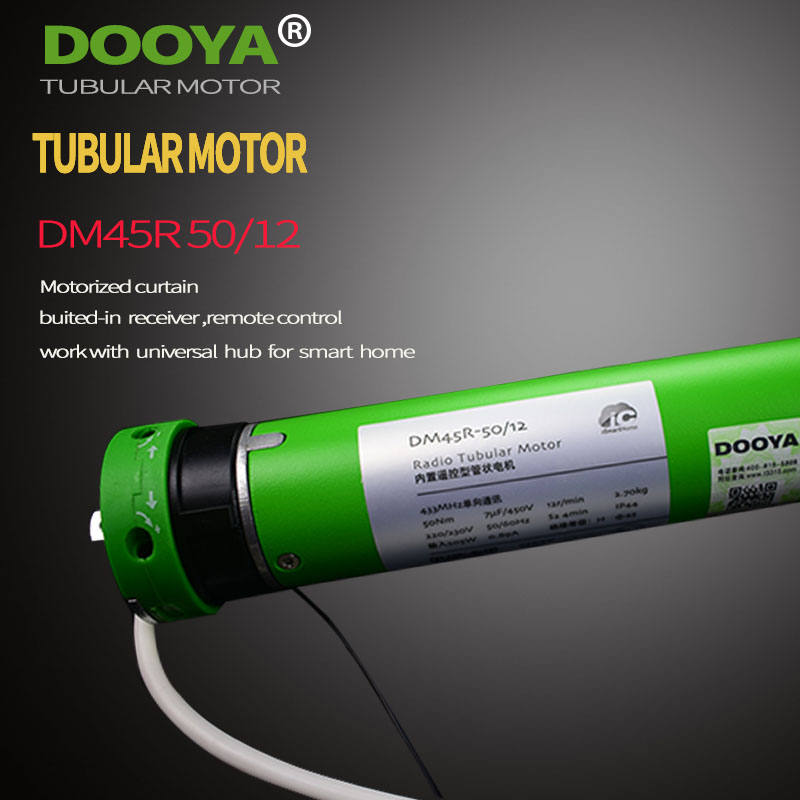 Original Dooya Tubular Motor 220V 50MHZ DM45R For Motorized Rolling Blinds biult -in receiver 433MHz for remote