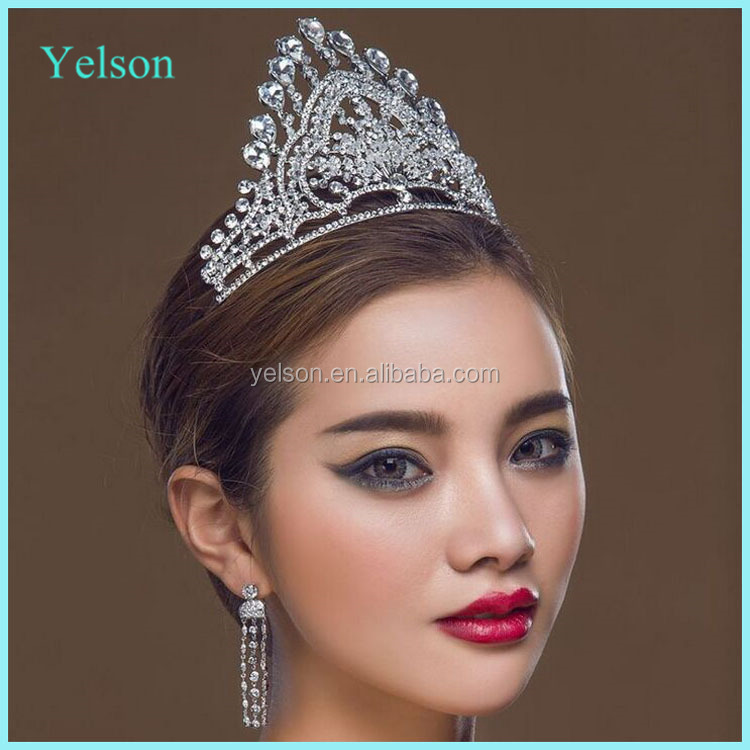 New designs hair accessories tall crystal rhinestone pageant crowns for sale