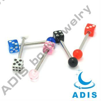 surgical steel tongue barbell with acrylic dice