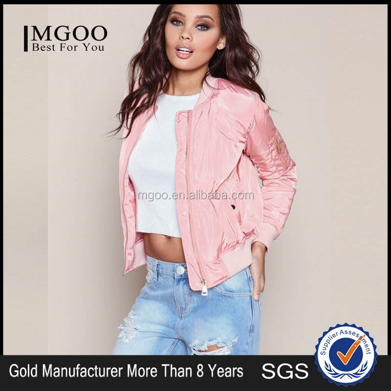 MGOO Latest Design Fashion Bomber Jacket For Women Wholesale Plain Ladies Coats Zip Up Winter Clothes Light Pink 2016