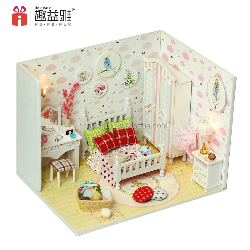 DIY Miniature Doll House Wooden Bedroom Furniture Kit LED Kid Creative Xmas Gift