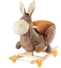 Children kids walking on toys wooden donkey rocking chair
