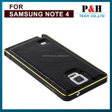 Aluminum Bumper Genuine Leather Back Cover Chromed Metal Frame Cases for Samsung galaxy Note 3 4