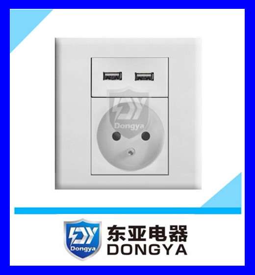 CE approved double gang wall USB socket for European market