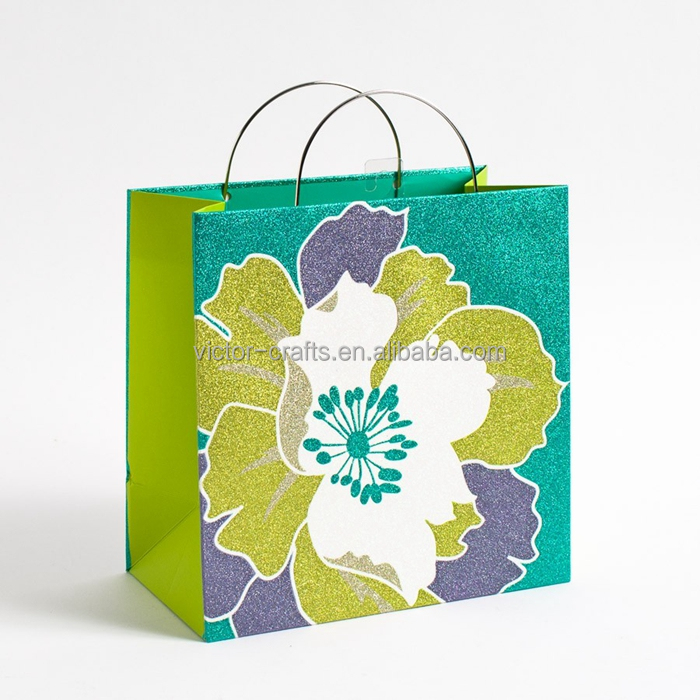 Teal & LIme Glitter Flower Square Gift Bag paper bags in india