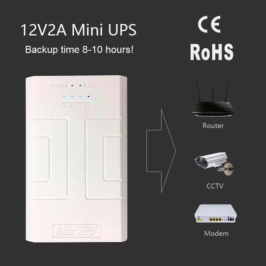12V 2A backup portable mini ups 24w for Security / Monitoring / Alarm