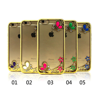 Luxury phone case, Acrylic Clear Back Cover Golden TPU Bumper luxury Case for iphone 7