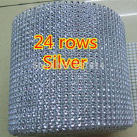 Silver plastic rhinestone mesh trimming sew on mesh trim 24 rows 4mm silver base 10 yards/roll mesh trimming Without Rhinestone