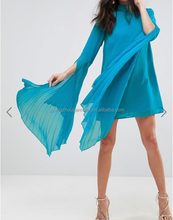 high fashion Turquoise High neck long knife-pleat sleeves Split cuffs Button-keyhole back Dramatic Mini Shift Dress