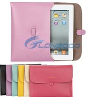 PU Leather Fashionable Pouch Bag Buckles Sleeve Cover Case for ipad 2 3 4