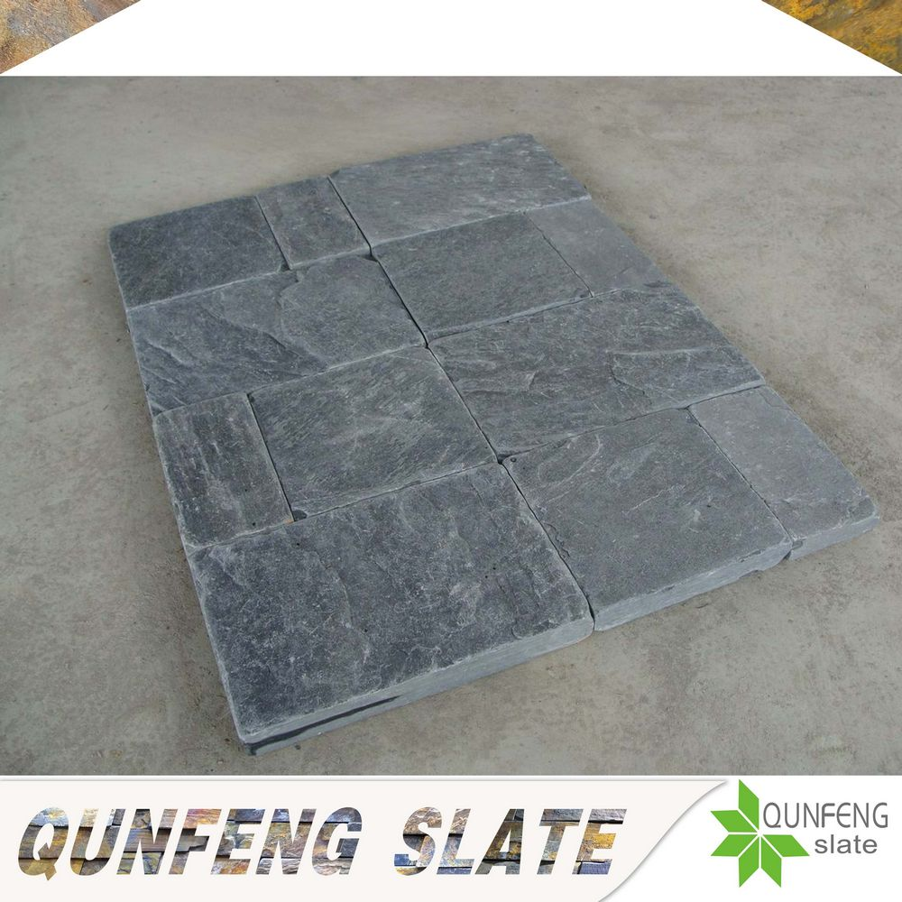 cut-to-size stone form black color tumbled patterns paving stone premium natural stones slate