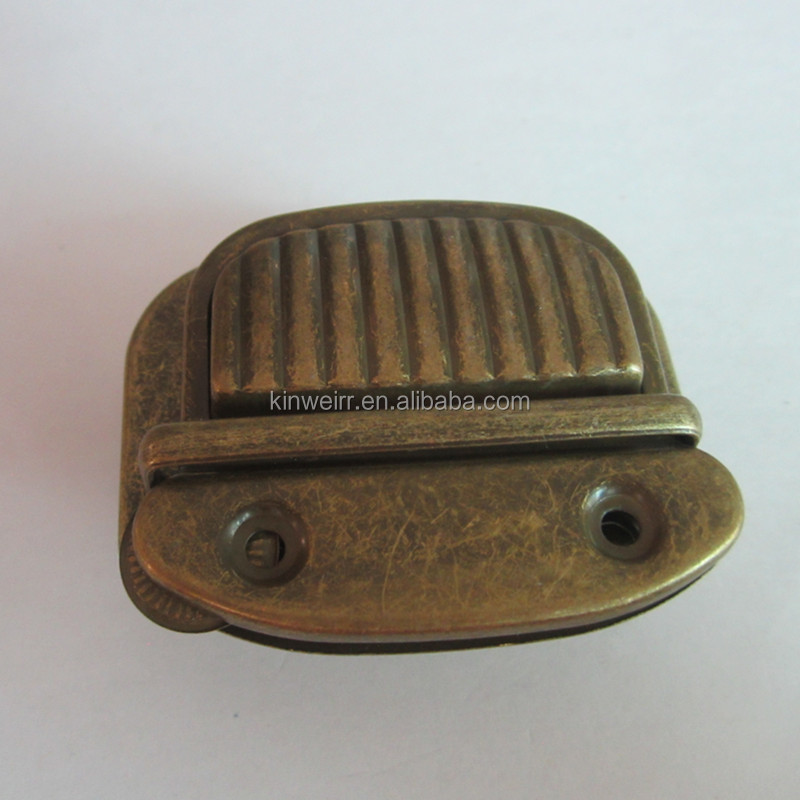 good quality brush antique bronze metal push bag lock for doctor bag