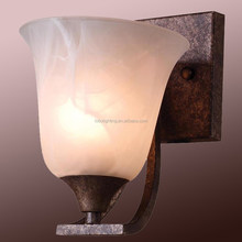 Single frosted glass shade wall sconce with bronze finished for USA hotels