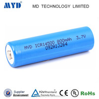 CE ROHS approved ICR14500 3.7v 800MAH lithium ion battery with long life
