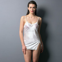 Latest design cheap comfortable embroidery woman white silk underwear plus lace sleepwear wholesale lingerie