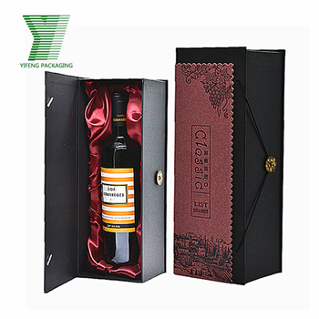 Luxury handmade black cardboard wine packaging wine box