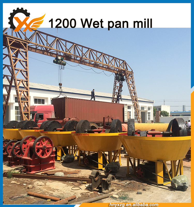 Yuxiang machinery stable running and reliable performance wet pan mill for gold grinding
