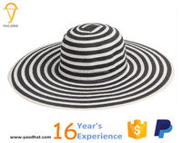 ladies strped wide brim paper straw floppy hats