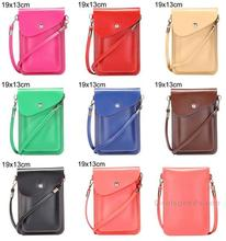 19x13cm Magnetic Snap PU Leather Pouch Ladies Handbags Multifunctional Shoulder Bag with Belt for iPhone etc(Light Pink)