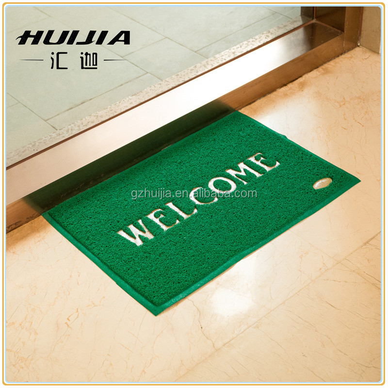 Cheap green color welcome logo rubber home door mat