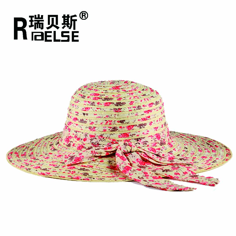 lady hats for women printing straw hat with bowknot