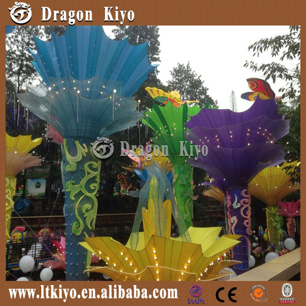 2016 new colorful flower solar lantern for amusement park