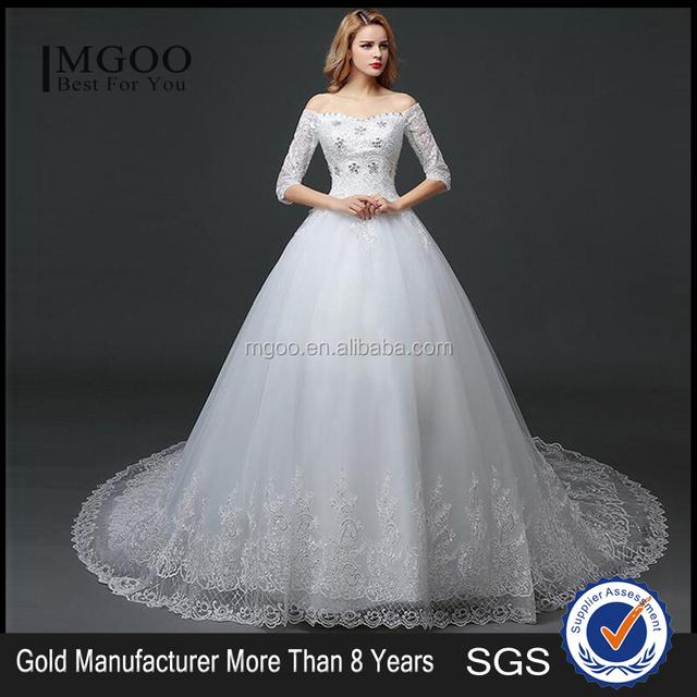 MGOO Lace Trim Hem Beaded Empire Vintage Floor Length Off Shoulder Wedding Dress Bride Grown Long Sleeve
