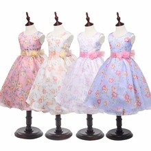 2017 Newest Three-dimensional Flower Children Dress With Rose Belt Polyester Sleeveless Pure Color Little Girl's Pleated Dress