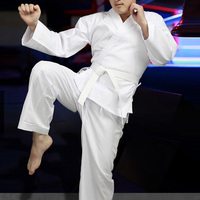 White WKF Polycotton Training Karate Uniforms For Adults
