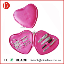 PU pink heart shape pouch wholesale manicure set mother day gift