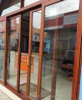Prefabricated golden oak wood clad aluminum window Aluminum doors and windows