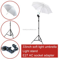 New arrived photo studio photography set 2m light stand + E27 AC socket adapter+Flash Soft Translucent Umbrella