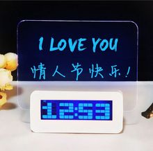 Factory sell LED luminous lectronic message board alarm clock multifunction DIY digital clock