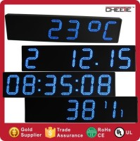 New Outdoor 6 Inch 6 Digit Led Red Clock Time Date Temperature LED Sign
