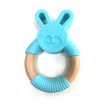 Silicone and Wood Combined Baby Teething Wooden Teether