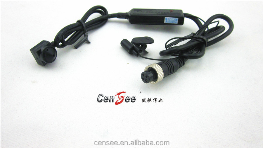 "16*16mm 1/3"" Sony CCD, 420TVL pinhole hidden car mini camera With Din jack connector female&Microphone"