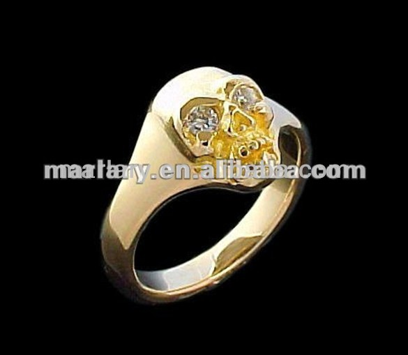 Fashion Style Gold Plated Skull Ring For Men