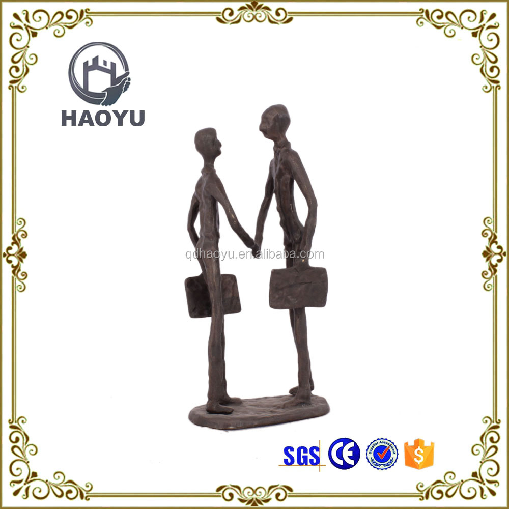 Office Decoration Antique Casting Iron Small Bronze Business Men 3D Figurine For Business Gift