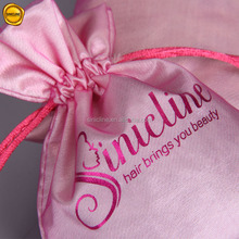 Sinicline new custom luxury double layer drawstring bags satin hair packaging bags