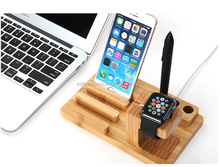 Multiple Dock Charging Station Bamboo Wooden Cell Phone Stand Bamboo cellular phone holder