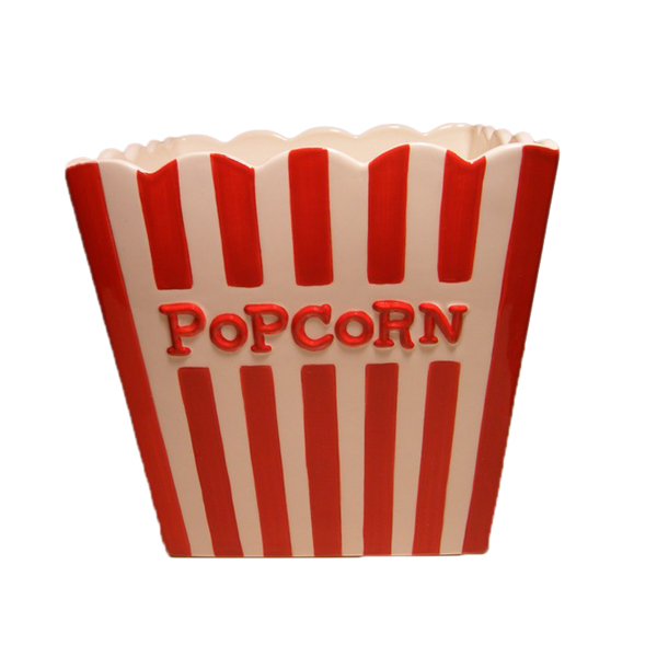 Embossed Logo Reusable Ceramic Popcorn Bowl