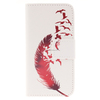 For Apple iPod Touch 5 Leather Wallet Case, Feather Pattern Flip Cover Case
