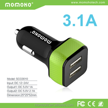Universal 3.1A two usb car charger for mobile phone, for iphone car charger in good price