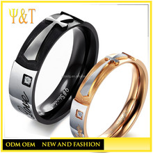 Fashionable 316L stainless steel jewelry, cross shape ring for couple,silver and rose gold couple ring set for lovers