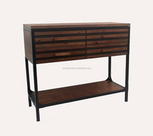 living room accent furniture X shape 4 drawers Metal And Wood Cabinet