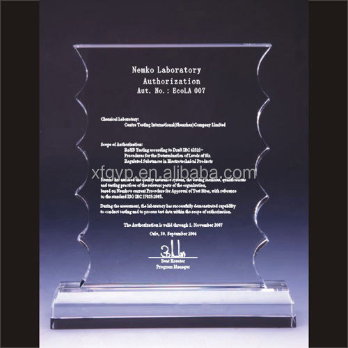 Crystal plaque or trophy with etched image and text