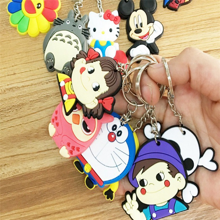 3D stereoscopic cartoon key chain Soft PVC keychain Custom environmentally friendly printable LOGO key chain