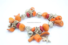 Chunky Fall Orange Different Shape Beads Stretch Bracelet Gold Plated CCB Angle Bell Charm Beaded Bracelet