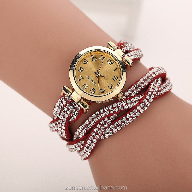 High Quality 2016 Fashion Colorful Leather Strap Bracelet Quartz Wrist Watches Rhinestone Women Girls Dress Watch Fashion Gift