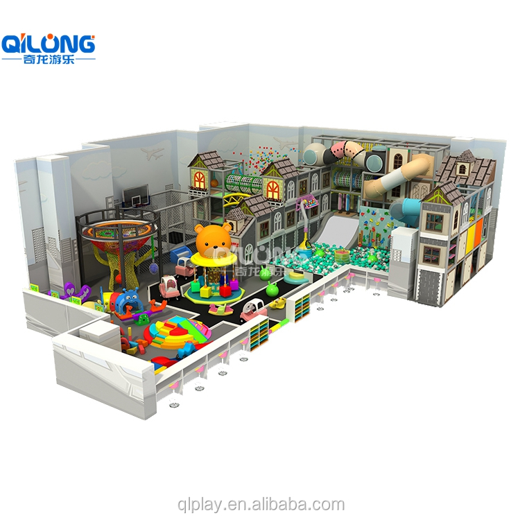 QILONG New Design Commercial Kids Indoor Playground Equipment With Basketball And Slide